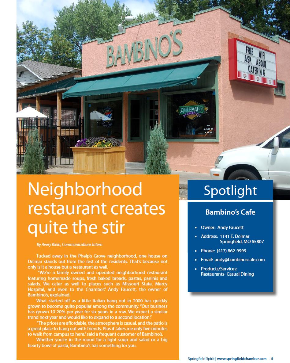 Bambinos Cafe Chamber of Commerce Spirit Feature - Restaurants in Springfield MO