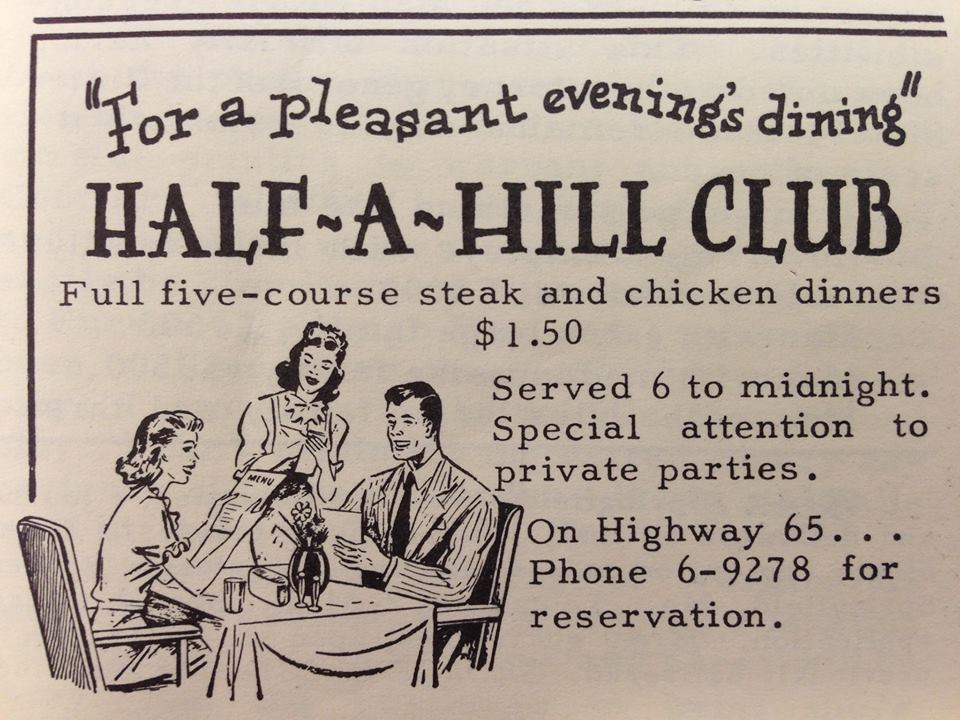 Half A Hill Advertisement - Legendary Restaurant in Springfield Missouri
